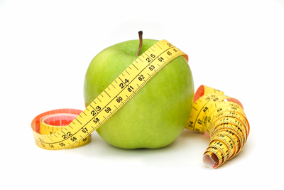A tape measure with apple