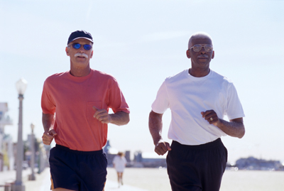 Healthy older guys jogging