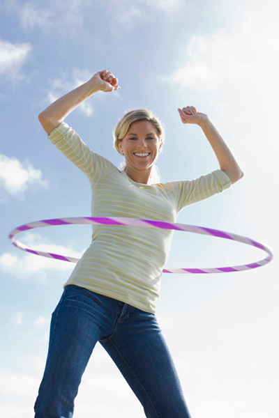 Woman doing hula hoops