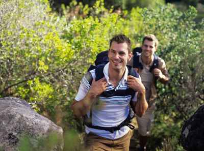 Young men enjoy hiking