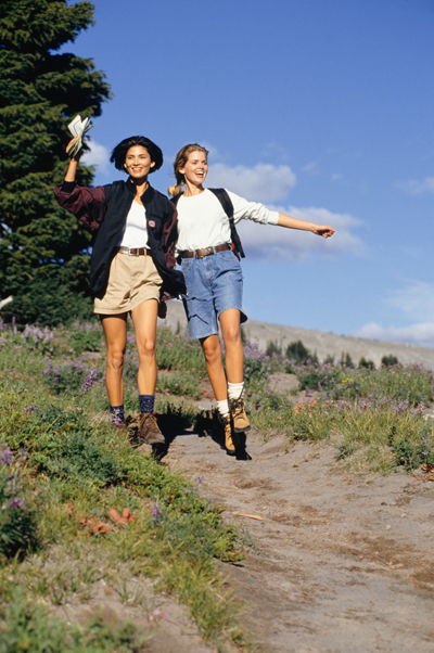 Two women enjoy hiking